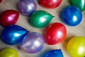 Inflatable multicolored balls lie