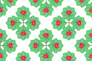 Floral Collage Check Pattern