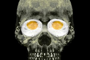 Funny Skull with Fried Egg Eyes