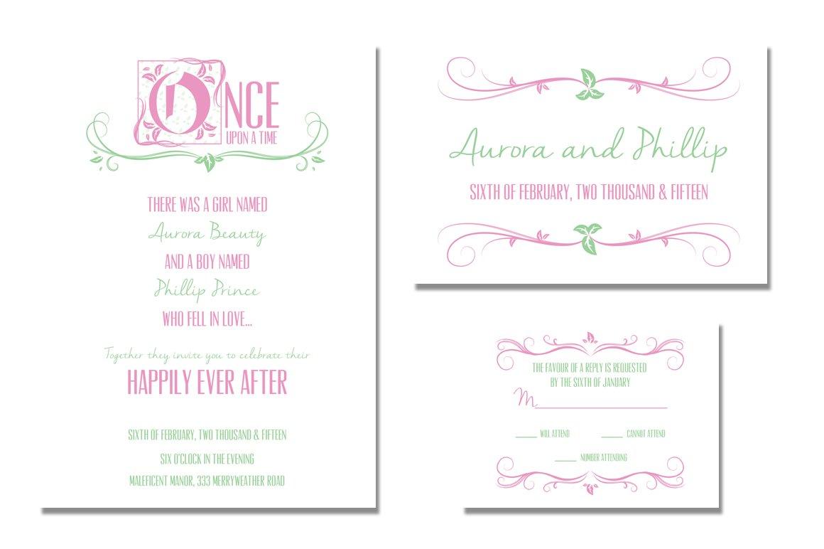 fairytale wedding invitation templates creative market - Fairy Tale Wedding Invitations