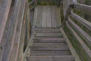 Wooden stairs.