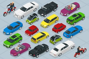 Flat 3d isometric high quality city transport car icons set Biker, motorcycle, chrysler, sedan, mini, smart, SUV, cabriolet, hatchback, pickup. Urban public and freight transport.