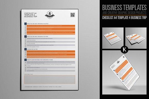 checklist a4 4 business trip templates creative market