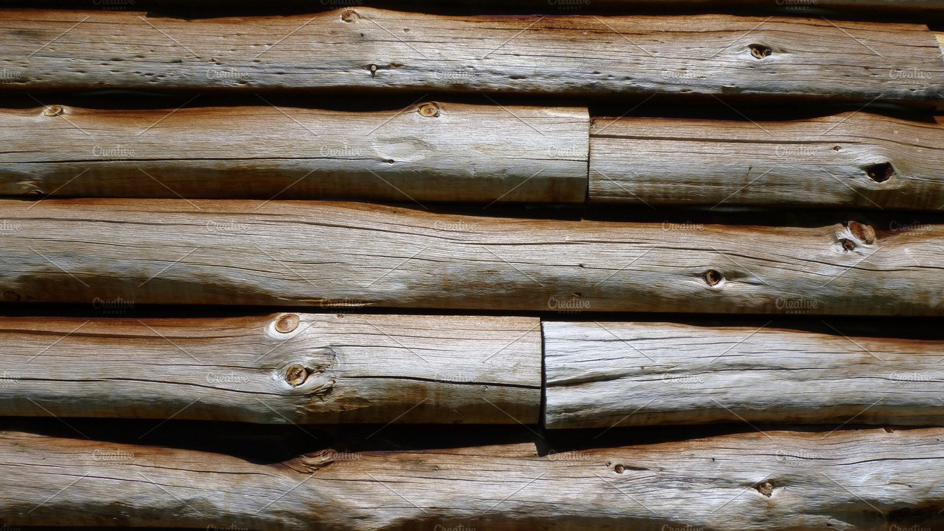 Log Wallpaper With The Texture Of Logs ~ Weathered wood log cabin wall mockup architecture photos
