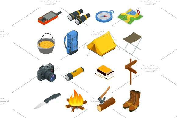 Hiking Icons Set Camping Equipment Vector Collection Binoculars Bowl Barbecue Boat Lantern Shoes Hat Tent Campfire Base Camp Gear And Accessories Camping Icon Set Hike Outdoor Elements