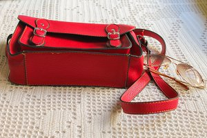 Bag in Red and Sunglasses