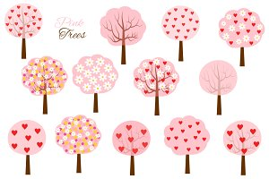 Pink heart and flower tree clipart