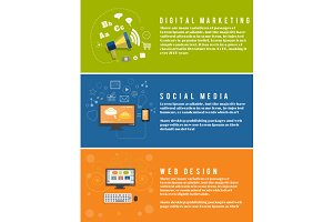 Icons for web design, seo, social me
