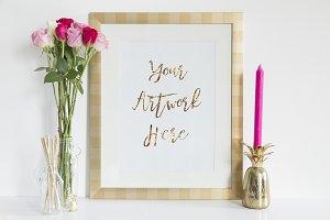 Pink Roses &Gold Frame Mockup