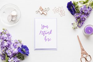 Blue Anemones Card Mockup
