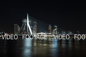 Timelapse night shot of traffic on the Erasmus Bridge, Rotterdam