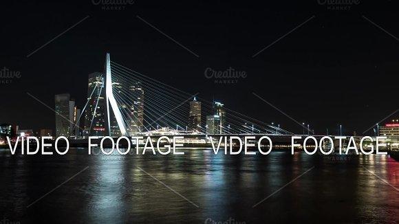 Timelapse Night Shot Of Traffic On The Erasmus Bridge Rotterdam