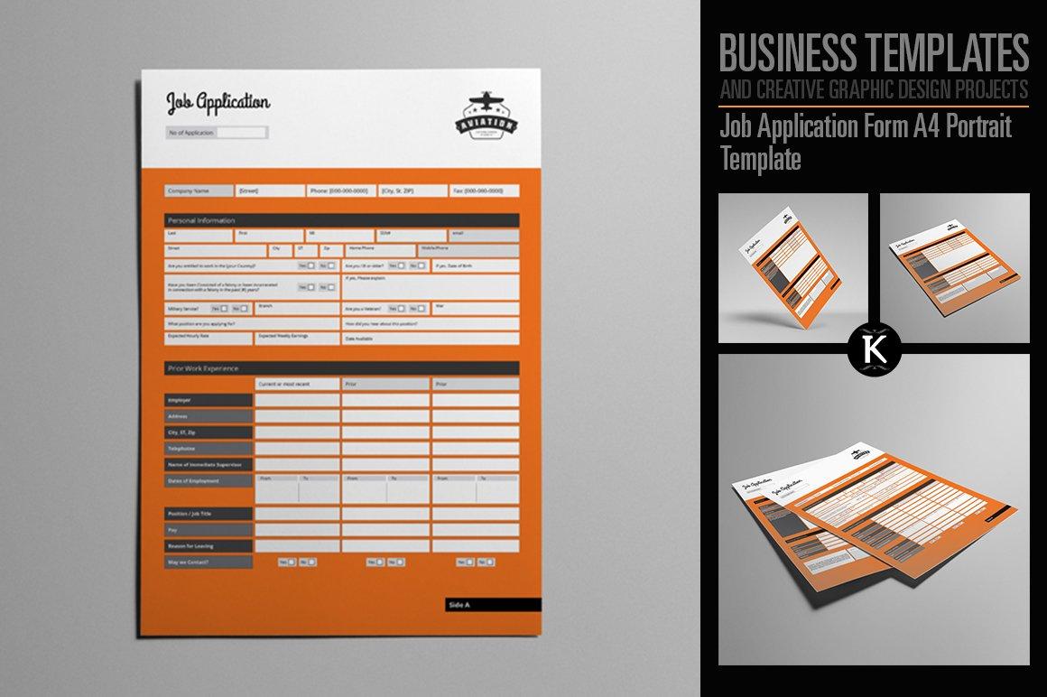 job application form a4 templates creative market. Black Bedroom Furniture Sets. Home Design Ideas