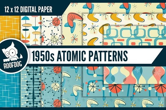 60s Atomic Patterns Graphic Patterns Creative Market Inspiration 1950s Patterns