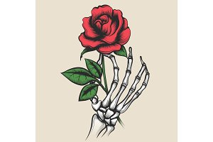 Skeleton hand with rose tattoo style