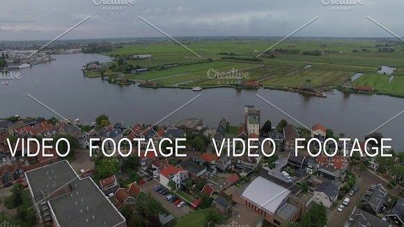 Aerial Dutch Village Scene