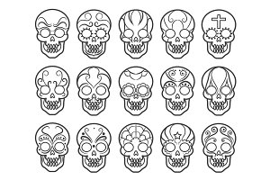 Mexican sugar skull icon set