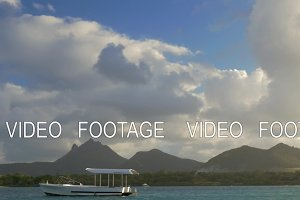 Mauritius landscape with mountains, view from sailing boat