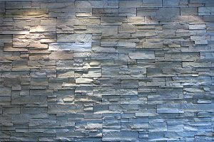 Highlighted White Stone Wall Mock Up