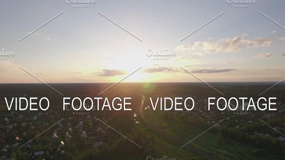 Aerial Scene Of Village With Railway At Sunset Russia