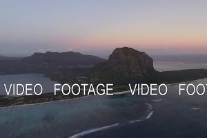 Mauritius aerial view with Le Morne Brabant mountain and ocean