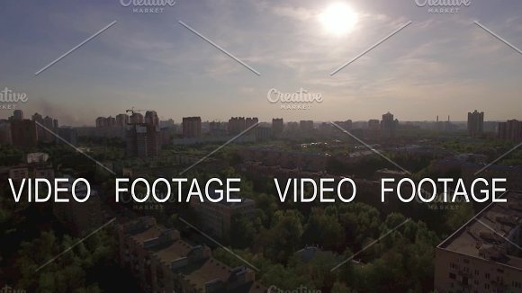 Flying Over Residential District With Houses In Moscow Russia