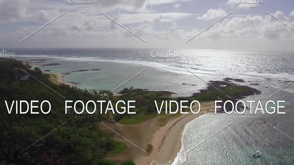 Mauritius coast and Indian Ocean, aerial view
