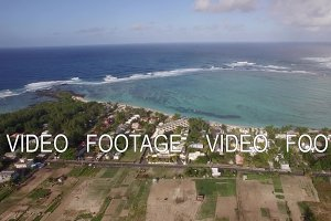 Aerial shot of Mauritius coast and Indian Ocean