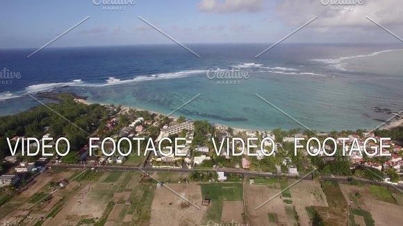 Aerial shot of Mauritius coast and Indian Ocean