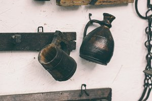 Old wooden pitchers