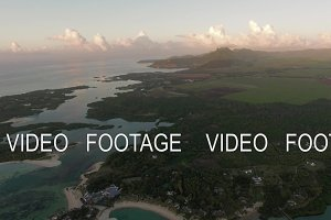 Aerial green scenes and blue lagoons of Mauritius Island