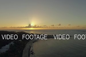 Aerial view of Mauritius coastline at sunset