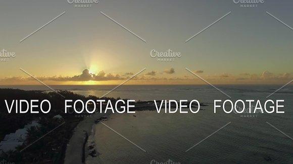Aerial view of Mauritius coastline at sunset