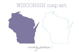 Wisconsin VECTOR & PNG map clip art