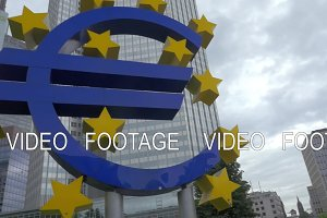 Frankfurt city with euro sign at European Central Bank