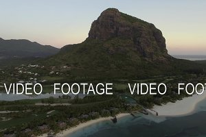 Le Morne Brabant peninsula with mountain, aerial Mauritius