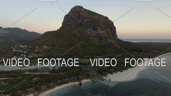 Le Morne Brabant peninsula with mountain, aerial Mauritius