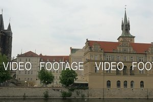 View of Prague cityscape moving along the Vltava river on boat, Czech Republic
