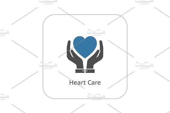 Heart Care Icon Flat Design