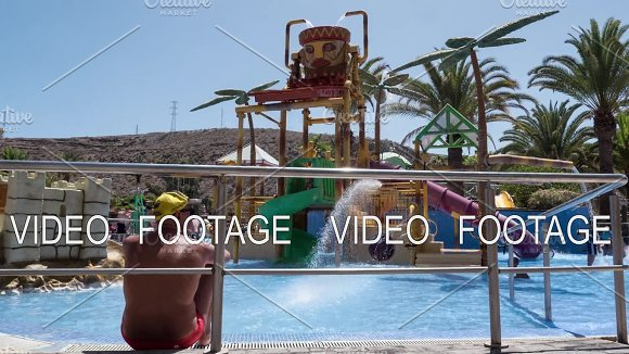 Timelapse Of Children At Outdoor Water Attraction