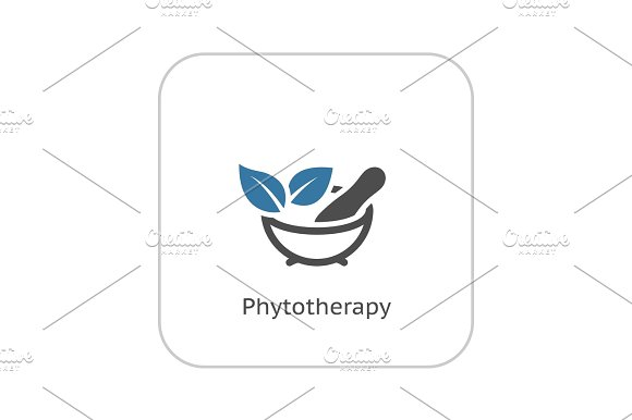Phytotherapy Icon Flat Design
