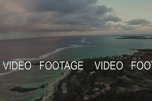 Aerial panorama of Mauritius Island and Indian Ocean