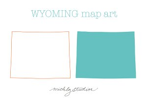 Wyoming VECTOR & PNG map art