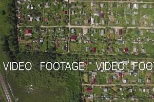 Aerial view of village houses in Russia