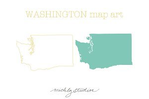 VECTOR & PSD Washington map clip art