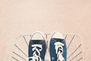Jeans sneakers in basket
