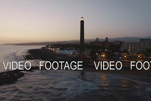 Gran Canaria coast with Maspalomas Lighthouse, aerial