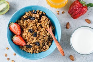 Granola, fresh fruits and milk