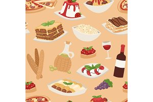Cartoon italy food cuisine traditional seamless pattern vector illustration.
