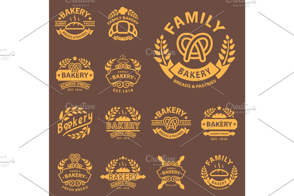 Bakery Gold Badge Icon Fashion Modern Style Wheat Vector Retro Food Label Design Element Isolated